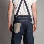 Jeanslederhose mit Hosenträgern
